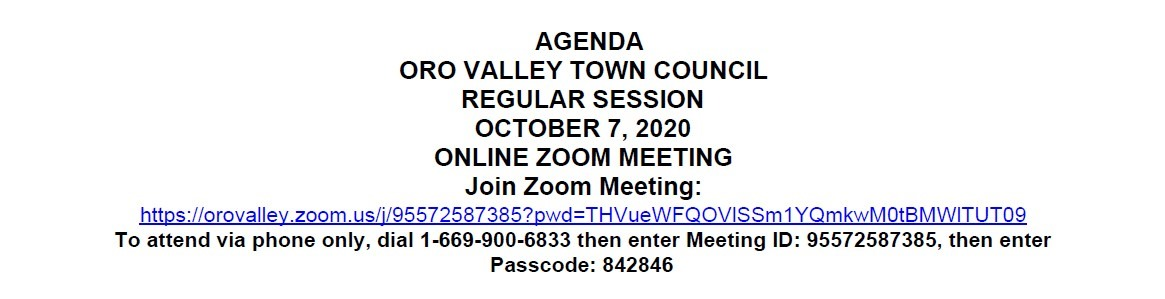 Town of Oro Valley agenda for demonstration purpose